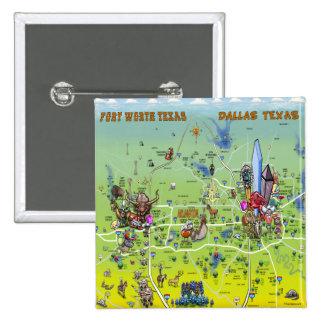 Mapa dos desenhos animados de Dallas Fort Worth Bóton Quadrado 5.08cm
