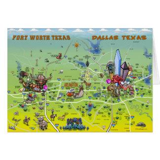Mapa dos desenhos animados de Dallas Fort Worth Cartão Comemorativo