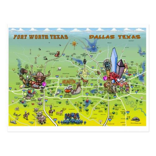Mapa dos desenhos animados de Dallas Fort Worth Cartões Postais