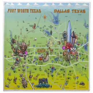Mapa dos desenhos animados de Dallas Fort Worth Guardanapo Impresso
