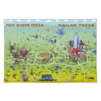 Mapa dos desenhos animados de Dallas Fort Worth Suporte Para Pratos