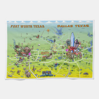 Mapa dos desenhos animados de Dallas Fort Worth Pano De Prato
