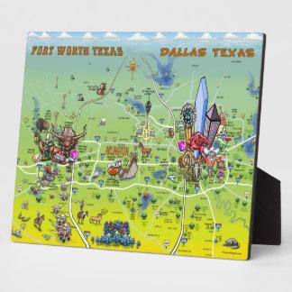 Mapa dos desenhos animados de Dallas Fort Worth Placa