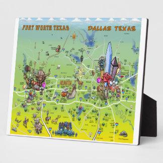 Mapa dos desenhos animados de Dallas Fort Worth Placas