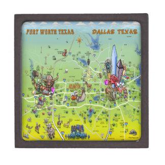 Mapa dos desenhos animados de Dallas Fort Worth Porta Trecos Premium