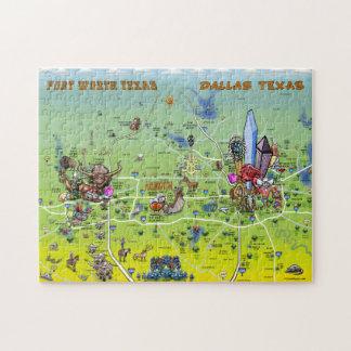 Mapa dos desenhos animados de Dallas Fort Worth Quebra-cabeças Jigsaw