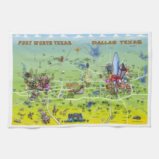 Mapa dos desenhos animados de Dallas Fort Worth Toalha De Mão