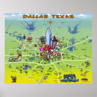 Mapa dos desenhos animados de Dallas Texas Pôsteres