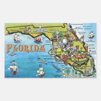 Mapa dos desenhos animados de Florida Adesivo Retangular