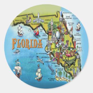 Mapa dos desenhos animados de Florida Adesivo Redondo