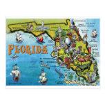 Mapa dos desenhos animados de Florida Cartão Postal