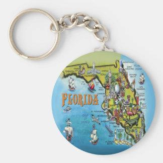 Mapa dos desenhos animados de Florida Chaveiro