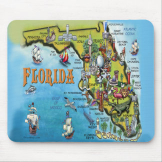Mapa dos desenhos animados de Florida Mouse Pad
