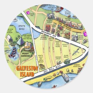 Mapa dos desenhos animados de Galveston Texas Adesivo
