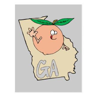 Mapa dos desenhos animados de Geórgia GA com o Cartão Postal