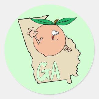 Mapa dos desenhos animados de Geórgia GA com o pês Adesivos
