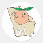 Mapa dos desenhos animados de Geórgia GA com o pês Adesivo Em Formato Redondo