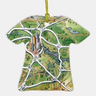 Mapa dos desenhos animados de Houston Texas Ornamento De Cerâmica Camiseta