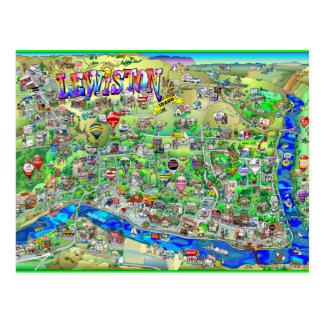 Mapa dos desenhos animados de Lewiston Idaho Cartão Postal