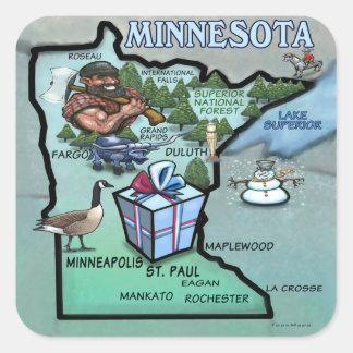 Mapa dos desenhos animados de Minnesota Adesivo Quadrado