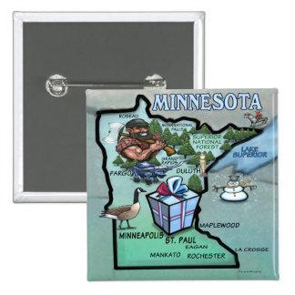 Mapa dos desenhos animados de Minnesota Bóton Quadrado 5.08cm