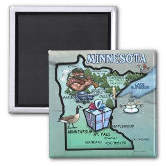 Mapa dos desenhos animados de Minnesota Ímã Quadrado