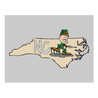 Mapa dos desenhos animados de North Carolina NC Cartão Postal