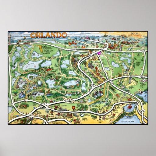 Mapa dos desenhos animados de Orlando Florida Impressão