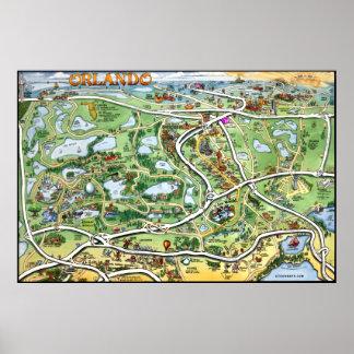 Mapa dos desenhos animados de Orlando Florida Pôster