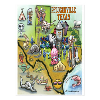 Mapa dos desenhos animados de Pflugerville Texas Cartão Postal