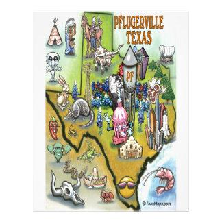 Mapa dos desenhos animados de Pflugerville Texas Modelo De Papel De Carta