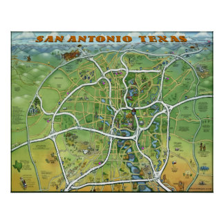 Mapa dos desenhos animados de San Antonio Texas Posteres