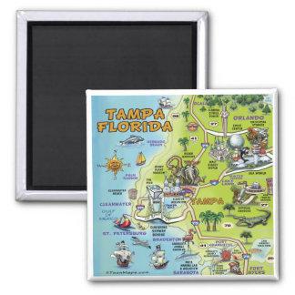 Mapa dos desenhos animados de Tampa Florida Ímã Quadrado
