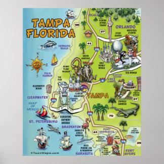 Mapa dos desenhos animados de Tampa Florida Impressão