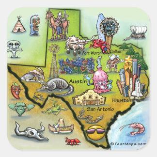 Mapa dos desenhos animados de Texas Adesivo Quadrado