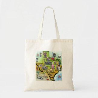 Mapa dos desenhos animados de Texas Bolsa Para Compras