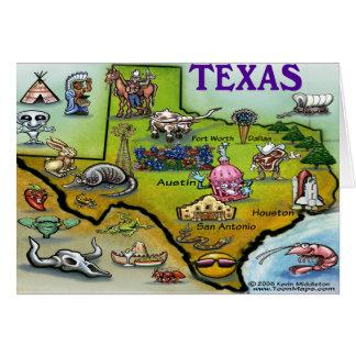 Mapa dos desenhos animados de TEXAS Cartão