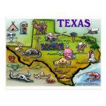 Mapa dos desenhos animados de TEXAS Cartoes Postais
