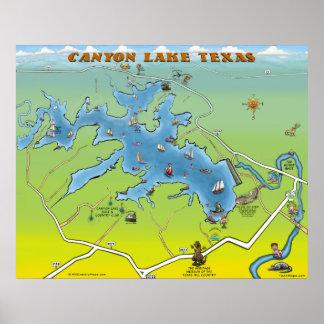 Mapa dos desenhos animados de Texas do lago canyon Pôster