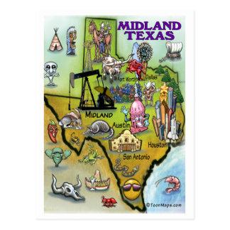 Mapa dos desenhos animados de Texas do Midland Cartão Postal