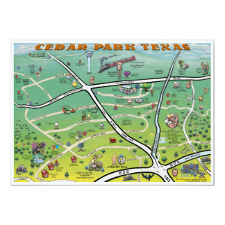 Mapa dos desenhos animados de Texas do parque do Convite 12.7 X 17.78cm