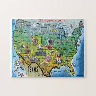 Mapa dos desenhos animados de Texas EUA Quebra-cabeça