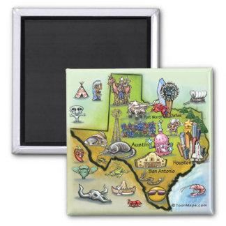 Mapa dos desenhos animados de Texas Ímã Quadrado