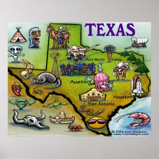 Mapa dos desenhos animados de Texas Poster