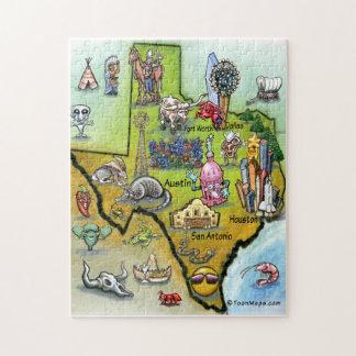 Mapa dos desenhos animados de Texas Quebra-cabeça