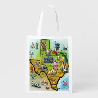 Mapa dos desenhos animados de Texas Sacolas Reusáveis