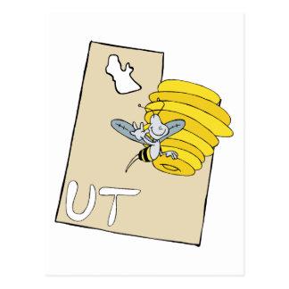 Mapa dos desenhos animados de Utá UT com arte dos Cartão Postal