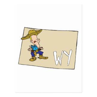 Mapa dos desenhos animados de Wyoming WY com um Cartão Postal