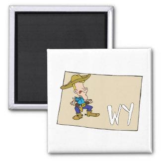 Mapa dos desenhos animados de Wyoming WY com um va Imas
