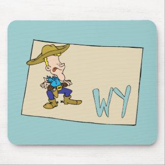 Mapa dos desenhos animados de Wyoming WY com um va Mouse Pad